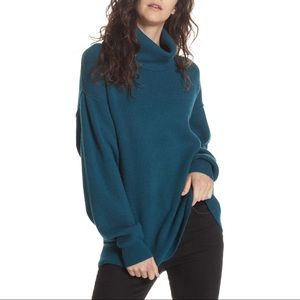 Free People Softly Structured Knit Tunic Turquoise